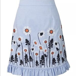 New Orla Kiely embroidered chambray skirt size 2